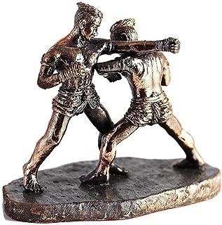 chantubtimplaza Chawa-zathok Art of Muay Thai Kick Boxing Thailand Fight Statue Bronze Color