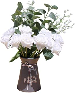 Mandy's 16pcs Artificial Silk White Rose Flowers Bouquets for Home Decoration Bridal Wedding Bouquet and Parties (vase not...