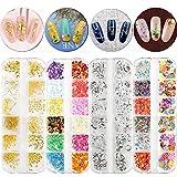 FLOFIA 4 Scatole Strass Pietre per Unghie Gioielli Pailettes per Decorazione Unghie Nail Art 3D Manicure Pedicure Fai da Te