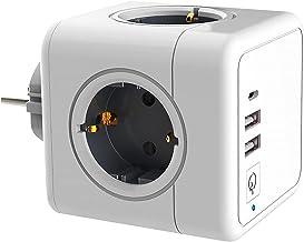USB Stopcontact, Kubus stopcontact, 2 Stopcontacten met 2 USB Poorten, 7 in 1 Stekkeradapter met USB Oplader,compatibel me...