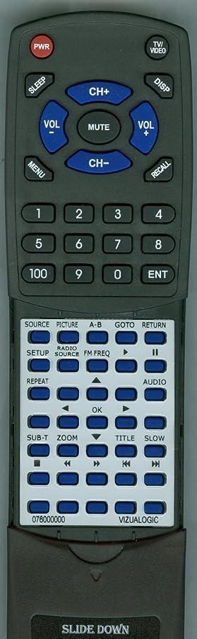 Replacement Remote Control for VIZUALOGIC A1290, A1200, A1260, A1150, A1250, 076000000