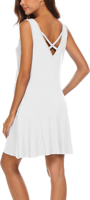LuckyMore Women's Summer Sundresses Beach Cover Up Criss Cross Back Pocket Swing T-Shirt Dress S-3XL