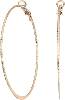 GUESS - Large Textured Clutchless Hoop Earrings