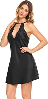 Satin Nightgowns for Women Sexy Lingerie Lace Chemises Slip Sling Sleepwear