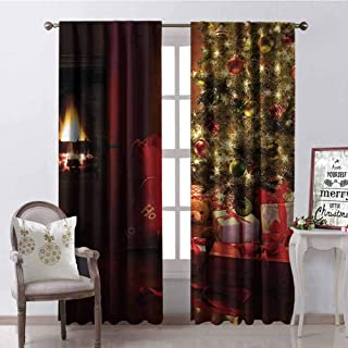 GloriaJohnson Christmas Blackout Curtain Xmas Scene with Decorated Luminous Tree and Gifts by The Fireplace Artful Image 2 Panel Sets W42 x L90 Inch Red Yellow