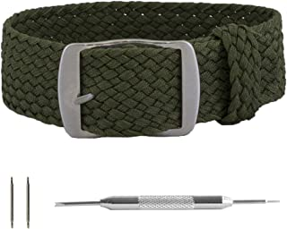 Benchmark Straps 22mm Army Green Perlon Woven Soft Nylon Watchband + Spring Bar/Pin Removal Tool