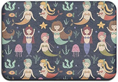 "Door Mat Indoor Doormat Cute Mermaids Front Door Mats Rug Personalized Mat for Bathroom Kitchen Bedroom Entryway Floor Mats,Non-Slip Rubber,15.7""x23.6"""
