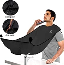 SYOSIN Latest Version Beard Hair Catcher Apron with a Self-Packing Pouch for Men Shaving with Upgraded Suction Cups Adjustable Neck Straps Non-Stick Beard Cape Perfect Gift (Black)
