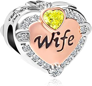 Q&Locket Rose Gold Plated Heart Love Wife Charm Birthstone Charms Christmas Beads for Bracelets