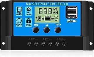 20A Controlador de Carga Solar, 12V/24V Identificación Automática/Carga de Regulación PWM de 3 Niveles/Puerto 2USB / Circu...