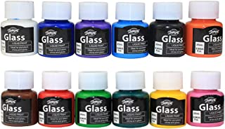 Glass Paint, Stained Glass Paint, Glass Color Paint for Wine Bottle, Light Bulbs and Ceramic (12 Colors x 0.84 fl.oz)