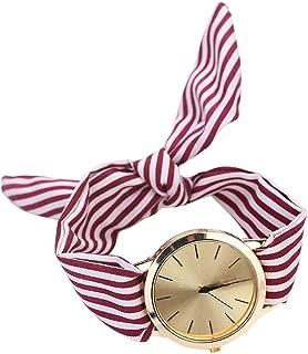Adies Watches Watches Woman Summer Women Stripe Floral Cloth Quartz Bracelet Wristwatch Watch,Watermelon