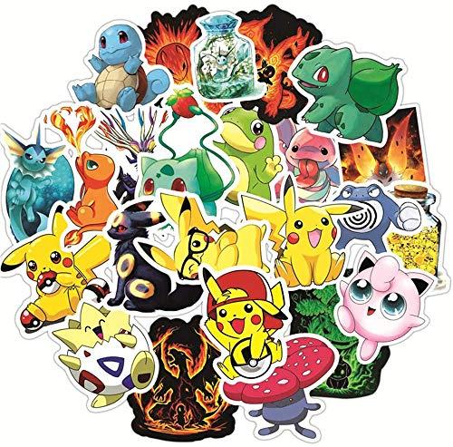 50pcs Pegatinas de Dibujos Pokémon, Pegatina de Animales Lindos para Niños Pequeños niños Adolescentes, Calcomanías de Vinilo Graffiti para Equipaje de Bicicleta Portátil