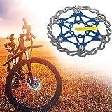 Rotore del freno a disco flottante per bicicletta con 6 bulloni Disco freno flottante Blocco centrale Accessori per biciclette per MTB Mountain Road Bike (Blu,203mm)