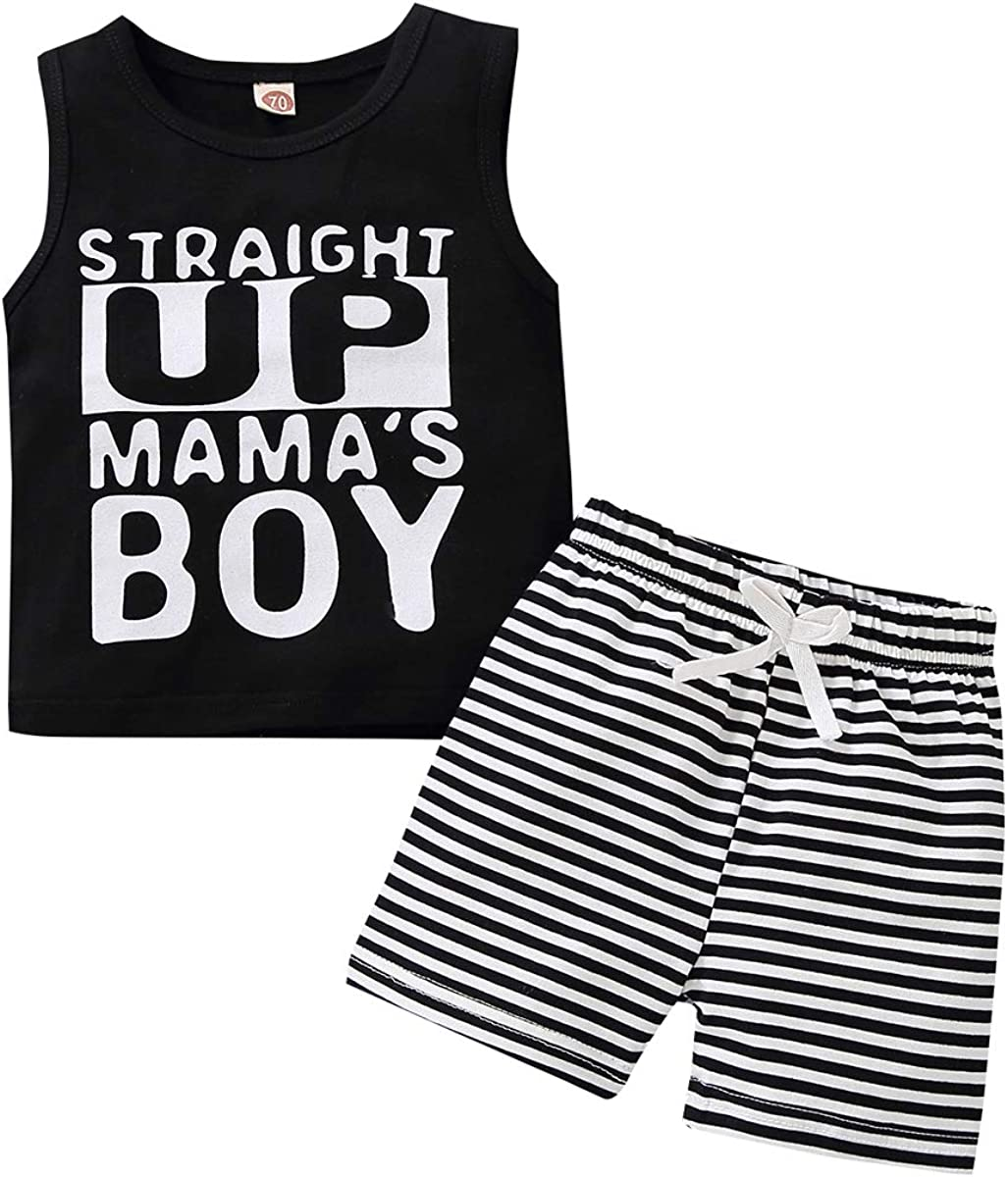 Toddler Kid Baby Boy Summer Outfit Straight Up Mama's Boy Vest Top Casual Shorts Clothes Set
