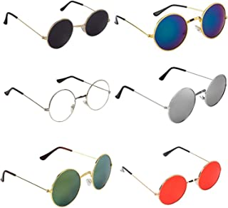 Dervin Unisex Adult Round Sunglasses (Assorted Frame, Assorted Lens) (Medium) - Pack of 5