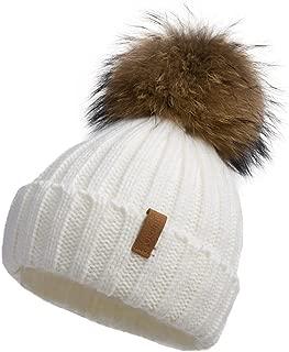 knit hat with fur pom pom