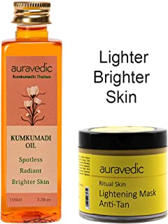 Auravedic Kumkumadi Oil Spotless Radiant Brighter Skin & Ritual Skin Lightening Mask (Pack Of 2)