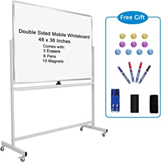Double-sided Mobile Whiteboard Magnet Dry Erase Board on Wheels - Aluminum Frame Magnetic Portable Stand Whiteboard- 48