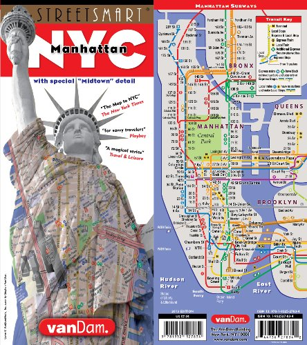 StreetSmart NYC Midtown Manhattan Map by VanDam Laminated pocket sized city street Map with all attractions, museums, Broadway theaters, hotels and subway map, 2019 Edition