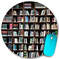 PATINISA ラウンドマウスパッド、ヴィンテージのリアルな本棚は本のワームのテーマを読む、PC ノートパソコン オフィス用 円形 デスクマット、ズされたゲーミングマウスパッド 滑り止め 耐久性が 200mmx200mm