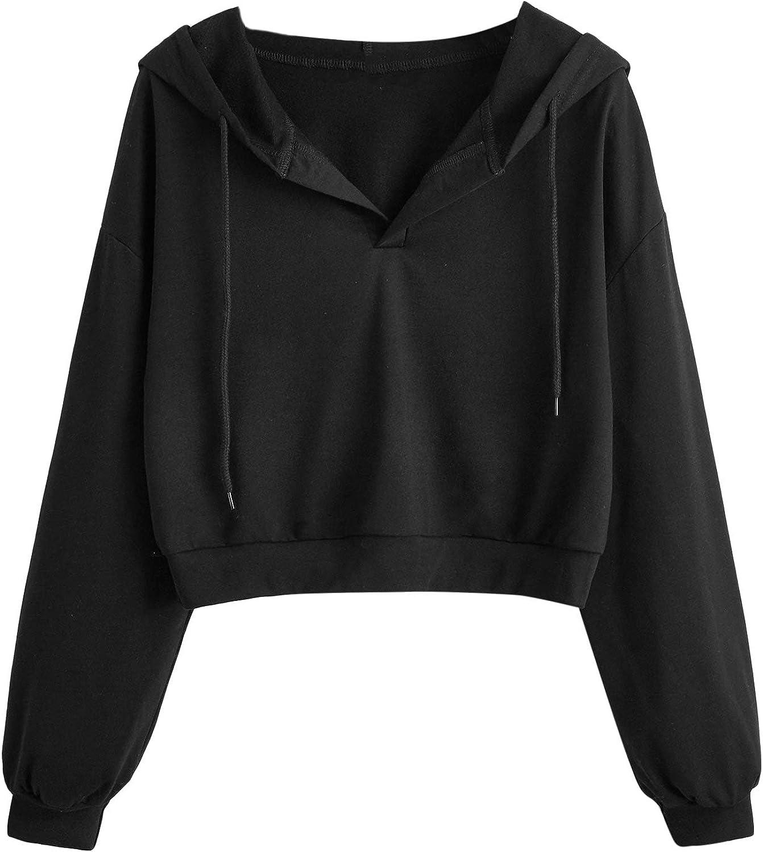 ROMWE Women's Casual Long Sleeve V Neck Crop Top Hoodies Sweatshirt