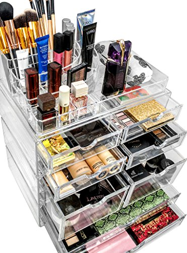 Sorbus Acrylic Cosmetics Makeup and Jewelry Storage Case X-Large Display Sets -Interlocking Scoop Drawers to Create Your Own Specially Designed Makeup Counter -Stackable and Interchangeable (Clear)