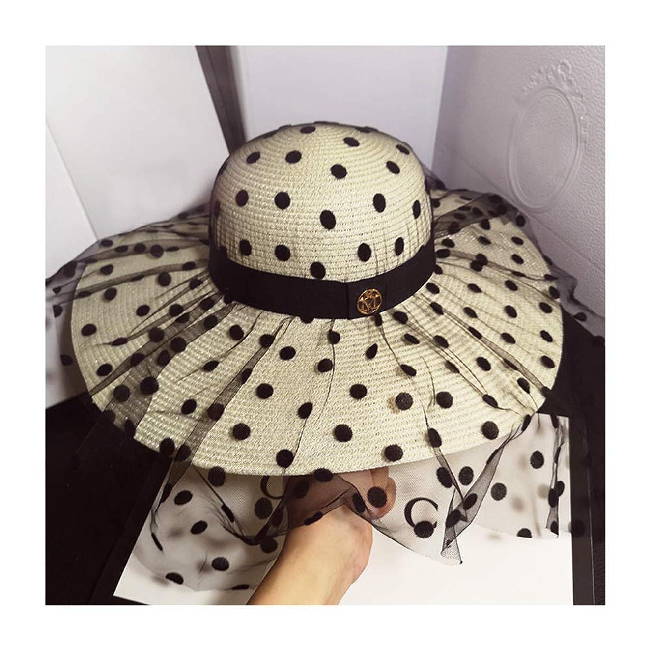 QTKJ Summer Anti-UV Round Top Sun Straw Beach Hat with M Letter, Adjustable Travel Wide Brim Black Lace Visor Hats with Black Decorative Belt for Women (Milky White)