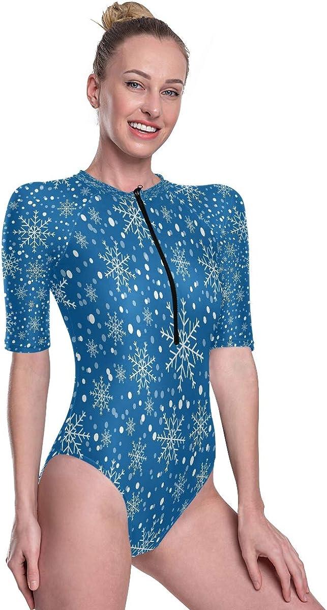 Womens Zip Up Printed Short Sleeve 1 Piece Rash Guard Swimsuit Snowflake Background Swimwear
