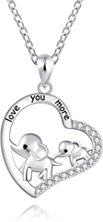 925 Sterling Silver Mother Daughter Jewelry Elephant Heart Pendant Necklace Engraved love you more for Women Girls