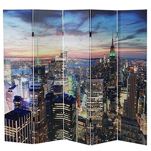 Mendler LED-Paravent Trennwand Raumteiler New York, Timer, netzbetrieben 180x200cm, 30 LEDs