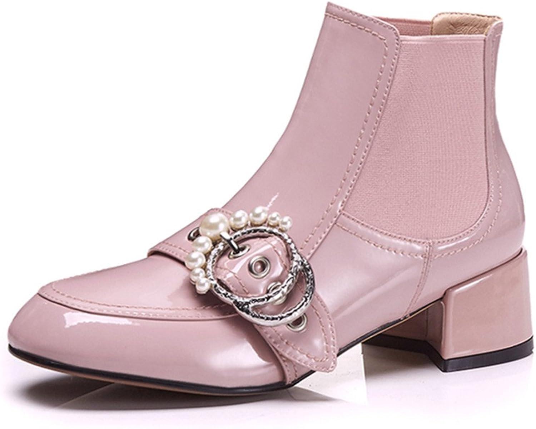 Nine Seven Leather Women's Square Toe Chunky Heel Buckle Dress Handmade Fashion Ankle High Boots