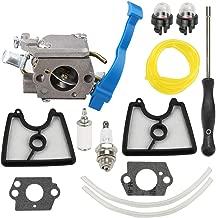 Wellsking 545081811 Carburetor fits Husqvarna 125B 125BX 125BVX 28CC 170 MPH Leaf Blower 590460102 with 545112101 C1Q-W37 Air Filter Adjustment Tool Repower Kit