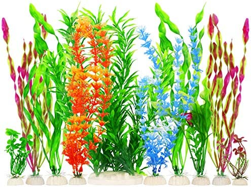 MyLifeUNIT Artificial Fish Tank Plants Plastic Aquariums Plants Decorations Set of 10 Set of product image