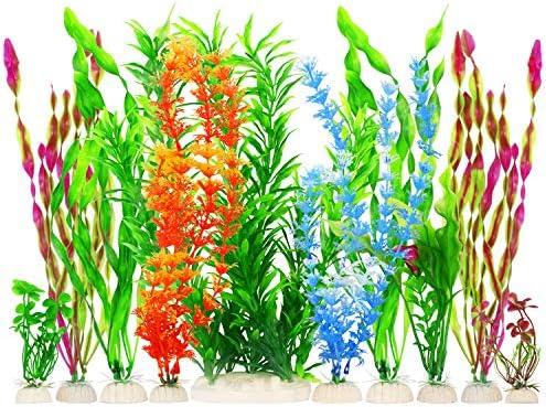 MyLifeUNIT Artificial Fish Tank Plants Plastic Aquariums Plants Decorations Set of 10 Set of product image