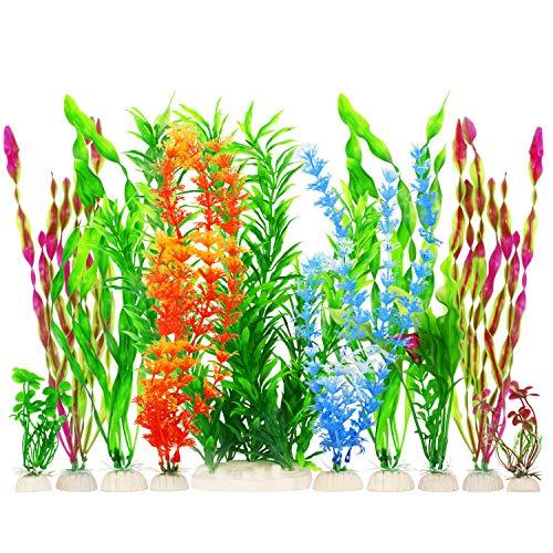 MyLifeUNIT Artificial Fish Tank Plants, Plastic Aquariums Plants Decorations, Set of 10 (Set of 10)