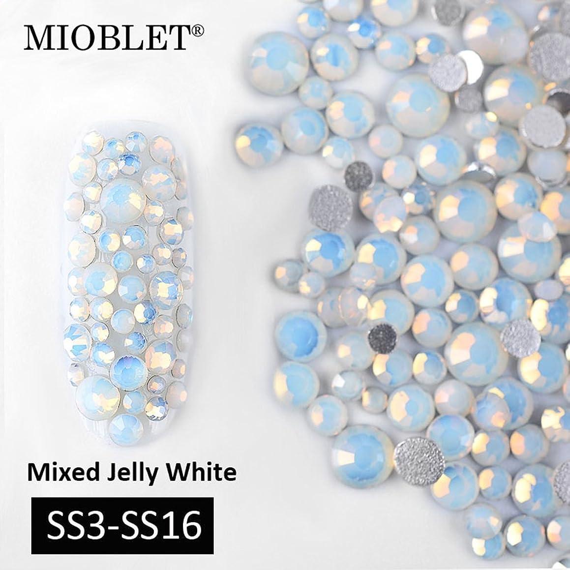 MIOBLET Mix SS3-SS16 Opal White Crystal Nail Art Rhinestones Flatback Glitters Decorations Gems