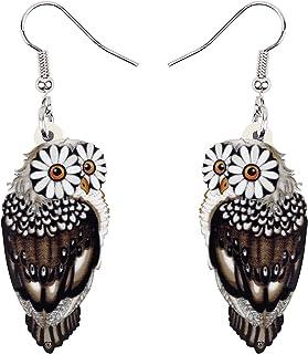 BONSNY Drop Dangle Brown Owl Earrings Bird Jewelry For Women Girls Kids Gift Charms
