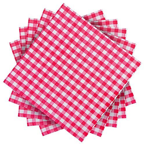 Aneco rot und weiß kariert Papierservietten für Hochzeit, Party, Geburtstag, Abendessen, Mittagessen mit 2 Schichten, 16,5 x 16,5 cm