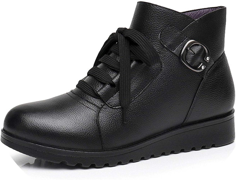 Women Mother Ladies Female shoes Boots Cow Genuine Leather Plush Fur Winter Lace Up Warm Non Slip