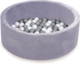 HAN-MM Kids Ball Pit, Kiddie Balls Pool, Stay at Home Toy, Baby Ball Pit, Soft Indoor Outdoor Nursery Baby Playpen, Ideal Gift Play Toy for Children Toddler Infant Boys & Girls, Grey (100 Balls)