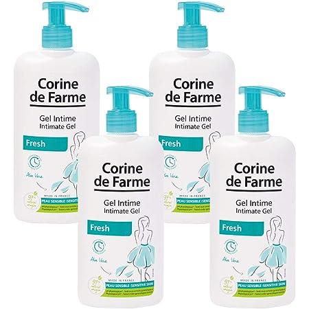 Corine de Farme Gel Intime Fresh - Gel Nettoyant pour la Zone Intime à l'Aloe Vera et Glycérine Végétale Hydratants - Respecte le pH Physiologique de la Flore Intime - 250 ml - Lot de 4