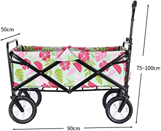 Heavy Duty Collapsible Folding Wagon,Utility Outdoor Camping Beach Cart, 8 Inch Solid Rubber Wheel & Adjustable Handle Fol...
