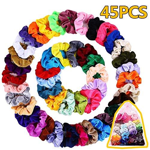 45 Piezas Velvet Elástico Hair Banda, Multicolor Scrunchies Terciopelo, Bandas de Pelo Bobble Elásticas Fuertes Accesorios Para el Cabello Ponytail Titular Para las Mujeres Niñas, 45 Colors