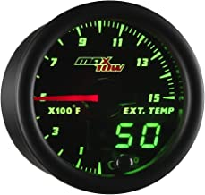 MaxTow Double Vision 1500 F Pyrometer Exhaust Gas Temperature EGT Gauge Kit - Includes Type K Probe - Black Gauge Face - Green LED Dial - Analog & Digital Readouts - for Diesel Trucks - 2-1/16