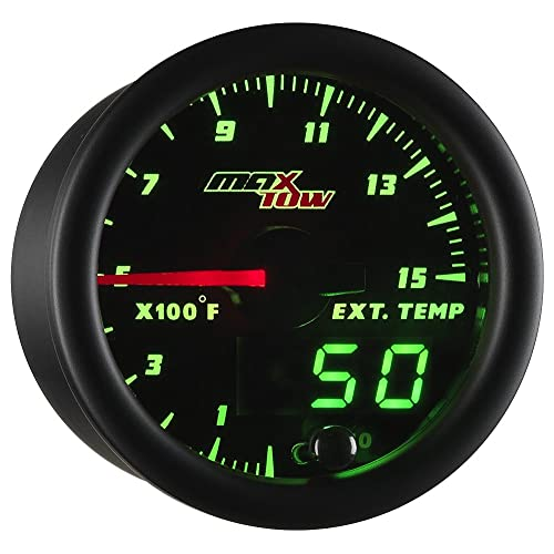 "MaxTow Double Vision 1500 F Pyrometer Exhaust Gas Temperature EGT Gauge Kit - Includes Type K Probe - Black Gauge Face - Green LED Dial - Analog & Digital Readouts - for Diesel Trucks - 2-1/16"" 52mm"