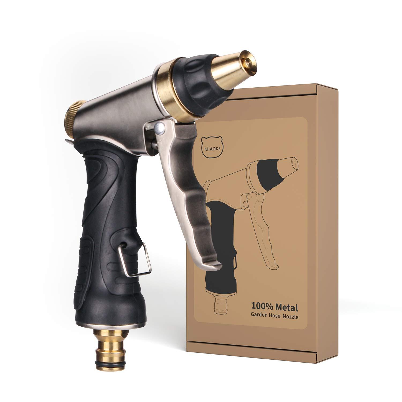 MIAOKE Pistola Manguera de Jardín, Pistola De Riego | 100% Metal | Boquilla de latón Macizo | con función de Bloqueo | Pistola multifunción de Alta presión para riego y Limpieza: Amazon.es: Jardín