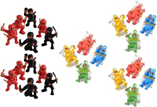Novelty Treasures 12 Mini Ninja Action Figures and 12 Ninja Paratroopers Birthday Party Goody Bag Set