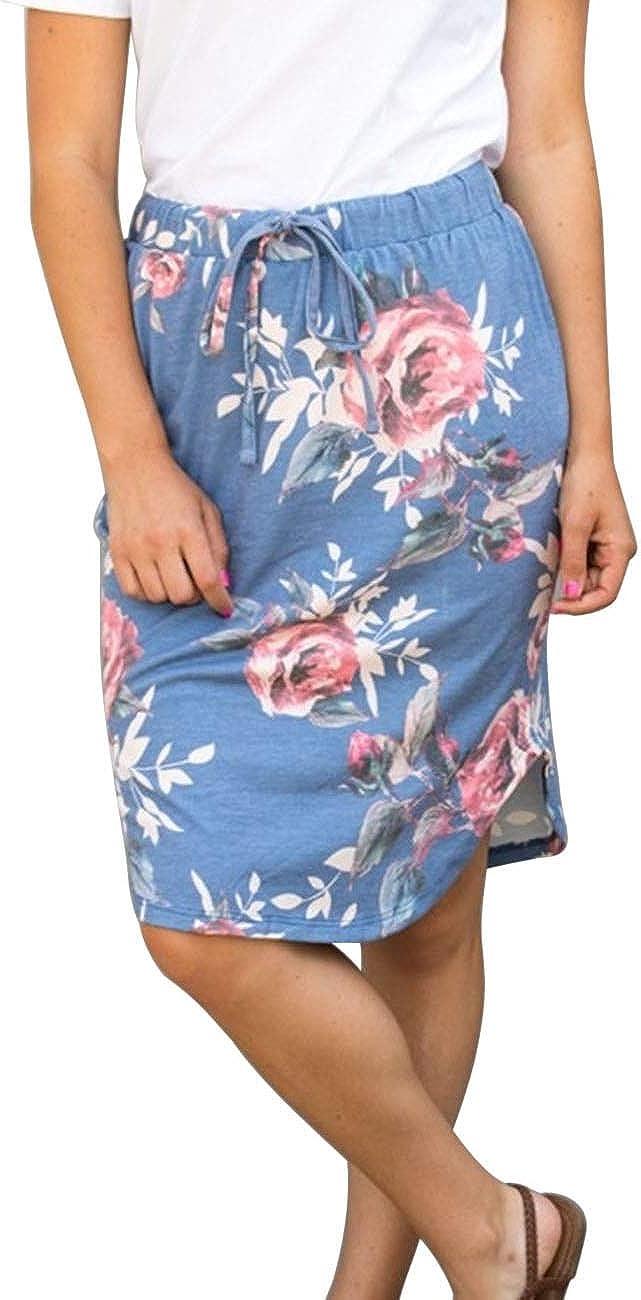 wenseny Womens Skirts Knee Free shipping anywhere in the nation Length Midi Award Elastic Pencil Bod
