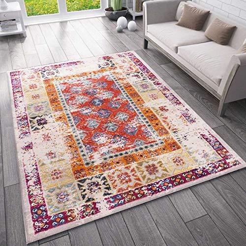VIMODA Teppich Vintage Look Designer Kurzflor Teppich läufer Bunt, Maße:120x170 cm